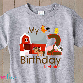 Birthday Shirt Farm Animals My Second Birthday Shirt Personalized tshirt Boy Heather Tshirt Girl Barn Cow Sheep Toddler Top Shirt