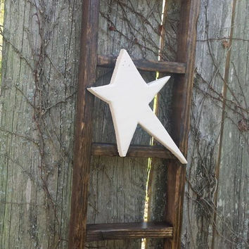 "Primitive Kona Stained LADDER Rustic W/ Primitive White Star Home Decor By Unique Primtiques 8"" w x 24"" h Custom Sizes Colors Available"