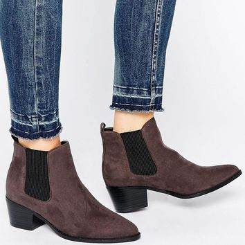 Head Over Heels By Dune Perina Grey Heeled Chelsea Boots