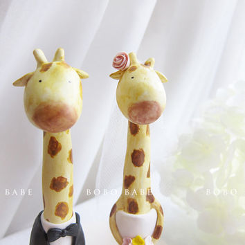 Hand Sculpted Wedding Cake Toppers - Giraffe
