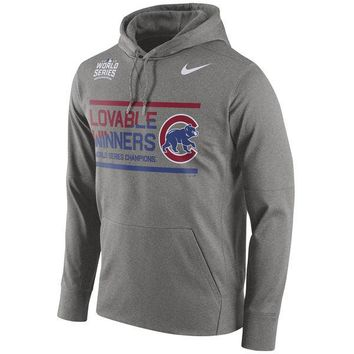Men's Chicago Cubs Nike Heathered Gray 2016 World Series Champions Loveable Winners Performance Pullover Hoodie