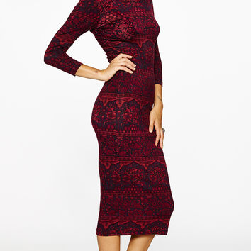 hyperion midi dress oxblood chantilly