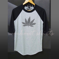 Cannabis shirt printed baseball tshirt /raglan shirt/  men teen women clothing size S M L XL