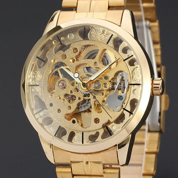 2015 New Brand Stainless Steel Band Automatic Mechanical Self Wind Watch Men Gold Skeleton Dress Watch Full Steel Watch ( Gold , Siliver )