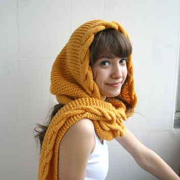 Yellow Mustard Wool Hooded Cabled Long Scarf Cowl Christmas gift Under USD100