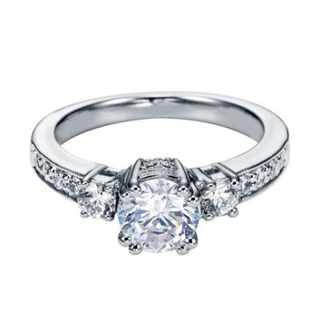 14K White Gold 1.10cttw 3-stone Plus Diamond Engagement Ring with Pave Basket Heads