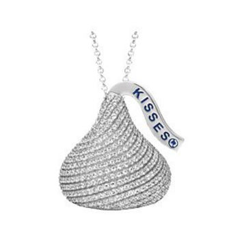 Sterling Silver 18 Inch Cz Hersheys Kiss Necklace
