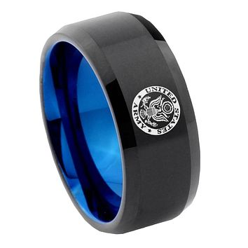 8mm U.S. Army Bevel Tungsten Carbide Blue Mens Promise Ring