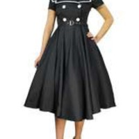 Black Plus Size Vintage Sailor Flared Dress