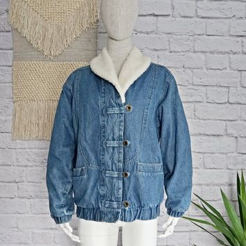 Vintage 1980's Denim + Sherpa Shawl Collar Jacket