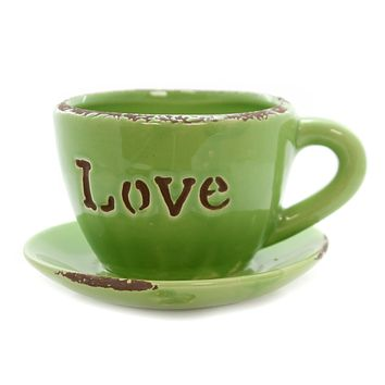 Home & Garden Coffee Cup Ceramic Planter Home Decor
