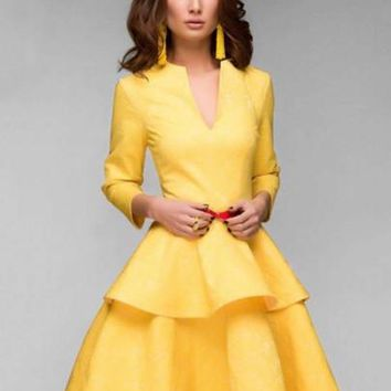 Yellow Tiered Women's Day Dress