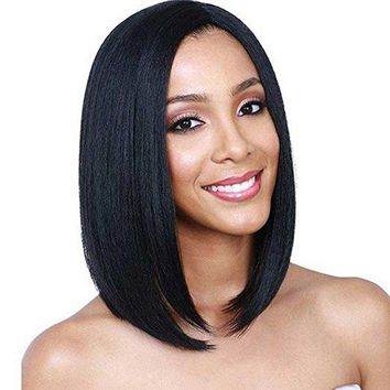 Deifor Dark Roots Highlights Bob Wigs Short Straight Ombre Synthetic Hair Wigs for Women (Black)
