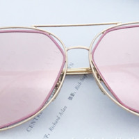 Women's Retro Metal Frame Mirrored Lenses Sunglasses Outdoor Glasses Eyewear New