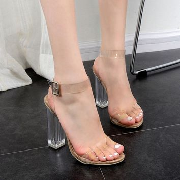new women sandals ladies pumps thick square high heels shoes woman Crystal Clear Transparent ankle strap party shoes