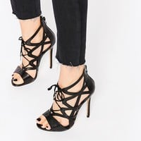 Windsor Smith Church Black Strappy Lace Up Heeled Sandals