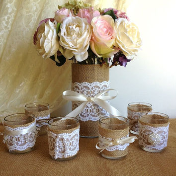 6 burlap and lace 10 hour tea candles and vase wedding decorations, bridal shower decor, home decor, gift or for you NEW