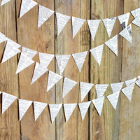 Vintage Book Triangle Garland  - 10, 15 or 30 feet of bunting