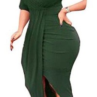 Womens Sexy Long Sleeve High Low Ruched Slit Bodycon Party Midi Dresses