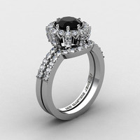 French 14K White Gold 1.0 Ct Black and White Diamond Engagement Ring Wedding Band Set R408S-14KWGDBD