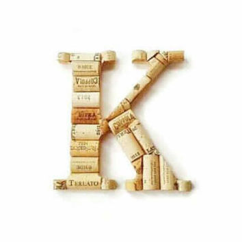 Wine cork letter K | wine cork decor | monogram letter | wine cork crafts | decorative letters | wine cork letters