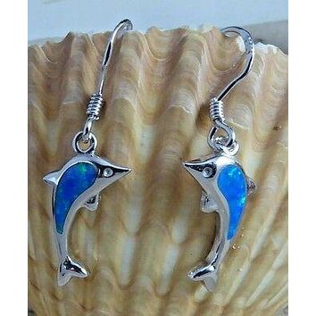FANTASTIC REAL STERLING SILVER INLAY BLUE OPAL LEAPING DOLPHIN DANGLE EARRINGS