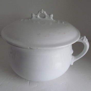 Johnson Bros England White Ironstone Chamber Pot Antique White Ironstone Johnson Brothers English Ironstone