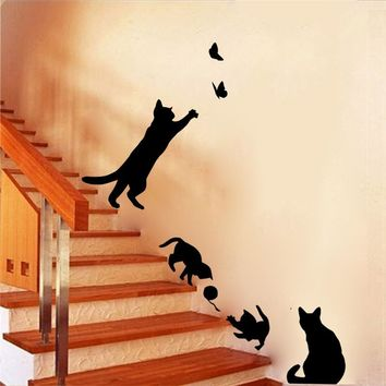 cute cats playing wall stickers