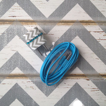New Super Cute Grey & White Chevron Jeweled Wall iphone 5/5s Wall Connector + 10ft Blue Cable Charger