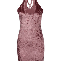 Pink High Neck Plunge Cross Strap Velvet Bodycon Dress