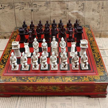 High-end Collectibles Vintage Chinese Terracotta Warriors Chess Set
