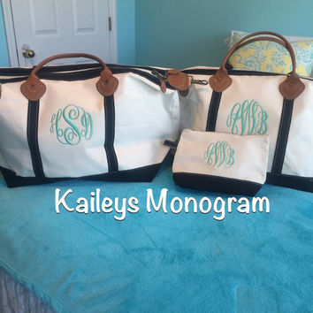 Monogrammed Weekender Canvas Tote Personalized Monogram Leather Trim Weekend Travel Kaileys Monogram