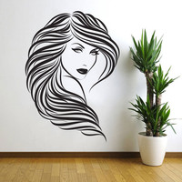 Removable Wall Stickers Vinyl Decor Hair Beauty Salon Barbershop Sexy Girl Wall