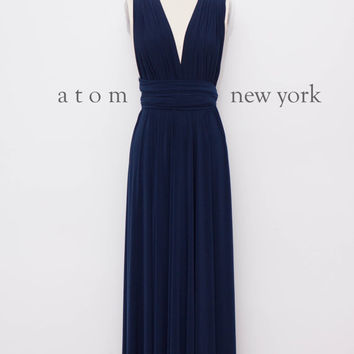 Navy Blue Floor Length Ball Gown Long Maxi Infinity Dress Convertible Formal Multiway Wrap Dress Bridesmaid Dress Evening Dress