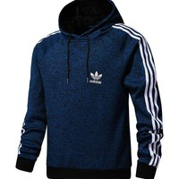 Adidas Men Long Sleeve Thicken Knit Sweater Hoodies With Hat