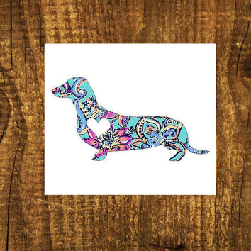 LILLY PULITZER Dachshund Heart Decal | Dachshund Mom Decal | Dog Decal | Dog Dad Decal | Dog Family Decal | Love Sticker | Love Decal  | 198