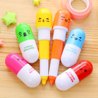1 Pcs lot Lovely Kawaii Pill Ballpoint Pen Cute Telescopic Vitamin Pill Novelty Ballpen office Learning Supplies