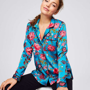 Wildflower Satin Shirt | LOFT