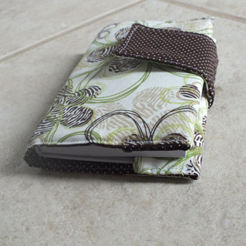 Mini Journal with Green and Brown Flowered Fabric Covering, Wrapped Journal, Clutch Journal, Journal Case, Covered Journal, Art Journal