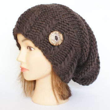 Slouchy beanie hats dark brown slouch hat beanies chunky knit knitted Irish handknit accessory for women with button wool