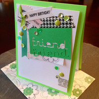Handmade Happy Birthday Greeting Card for a Friend, Great for a Girlfriend, Mother, Sister, Best Friend, Pretty Green Collage Birthday Card