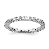 Sterling Silver Stackable Expressions White Topaz & Diamond Alternating Eternity Ring
