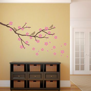 Cherry Blossom Wall Decal with Birds - Flower Decals with Branch - Japanese Wall Decal - Large