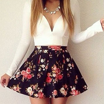 White Long Sleeve Floral Print Mini Dress