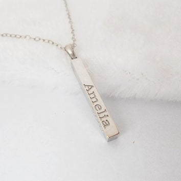 Custom Name Bar Necklace,Vertical Silver Bar necklace,Rectangle Engraved Bar Jewelry,Personalized Bar Necklace,Long Rectangular Necklace