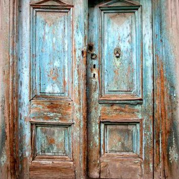 BLUE RUSTIC VINTAGE DOORS PRINTED PHOTOGRAPHY BACKDROP - 8x10 - LCPC1062 - LAST CALL