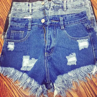 Denim Ripped Zipper High Waist Tassel Pocket Shorts