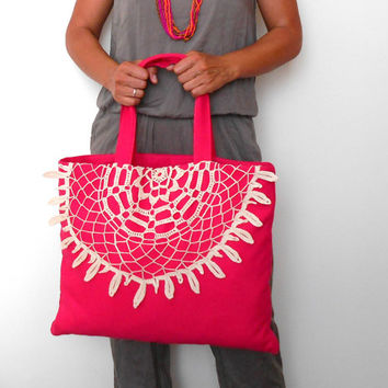 Pink Tote Bag, Canvas Tote Bag, Lace Tote Bag, Boho Bag, Everyday Bag, Pink Shoulder Bag, Crochet Lace Bag