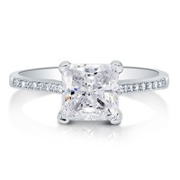Princess Cut Cubic Zirconia CZ Sterling Silver Solitaire Ring 1.96 ct #r658