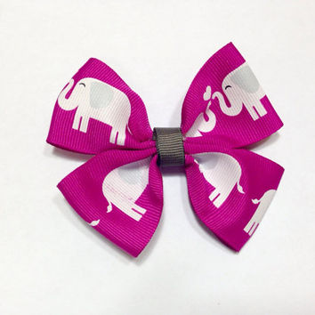 Elephant Print Hair Bow-Ribbon Hair Bow
